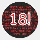 Feliz cumpleaños 18 pegatinas redondas