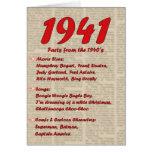 Feliz cumpleaños 1941 años de los años 40 40s de l tarjetón
