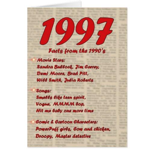 Feliz cumpleaños 19972 años de los años 90 90s de  tarjetas