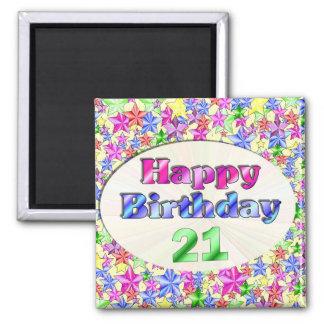 Feliz cumpleaños 21 imán cuadrado