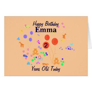 Feliz cumpleaños 2 años tarjeta de felicitación