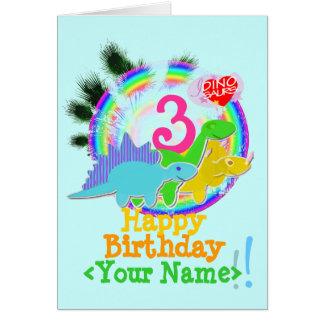 Feliz cumpleaños 3 años, su tarjeta conocida de Di