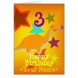 Feliz cumpleaños 3 años su tarjeta conocida del di