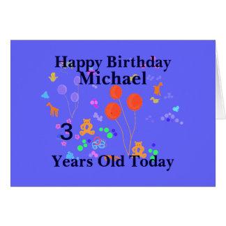 Feliz cumpleaños 3 años tarjeta de felicitación