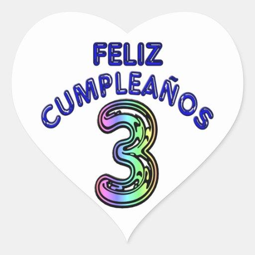 Feliz Cumpleaños 3 Pegatina En Forma De Corazón