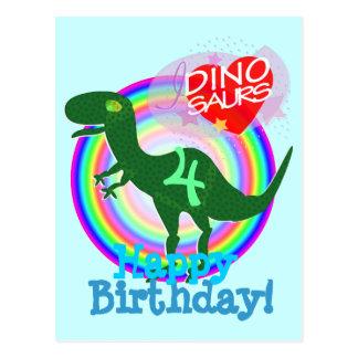 Feliz cumpleaños 4 años de postal de T-Rex Dino