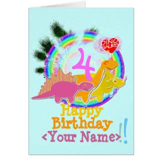 Feliz cumpleaños 4 años su tarjeta conocida de Di