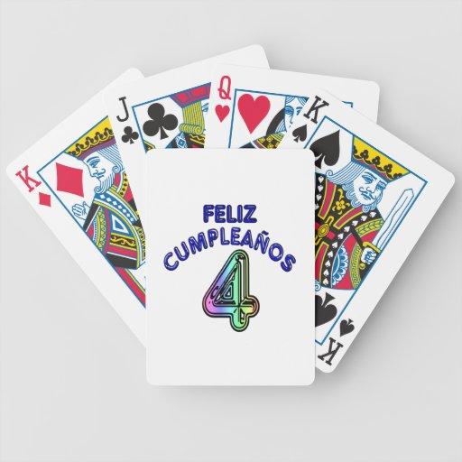 Feliz Cumpleaños 4 Baraja Cartas De Poker