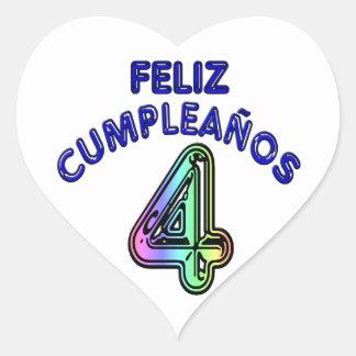 Feliz Cumpleaños 4 Heart Sticker
