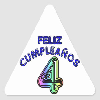 Feliz Cumpleaños 4 Pegatina Triangular