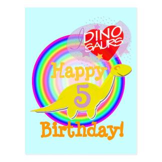 Feliz cumpleaños 5 años de postal amarilla de Dino