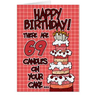 Feliz cumpleaños - 69 años tarjeta de felicitación