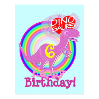 Feliz cumpleaños 6 años de postal púrpura de T-Rex