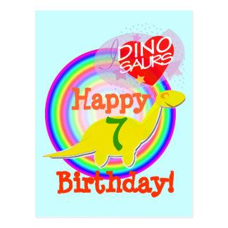 Feliz cumpleaños 7 años de postal amarilla de Dino