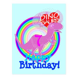 Feliz cumpleaños 7 años de postal púrpura de T-Rex