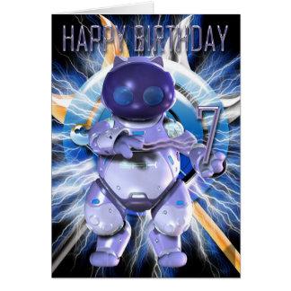 Feliz cumpleaños 7mo, gatito del robot, gato del tarjeta de felicitación