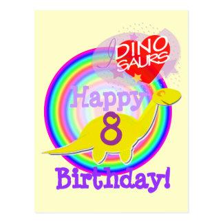 Feliz cumpleaños 8 años de postal amarilla de Dino