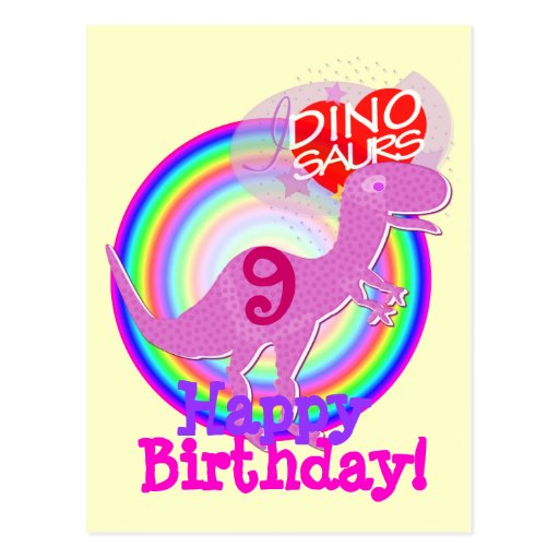 Feliz cumpleaños 9 años de postal púrpura de T-Rex