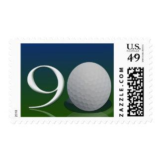 Feliz cumpleaños a la nuez del golf de 90 años sello
