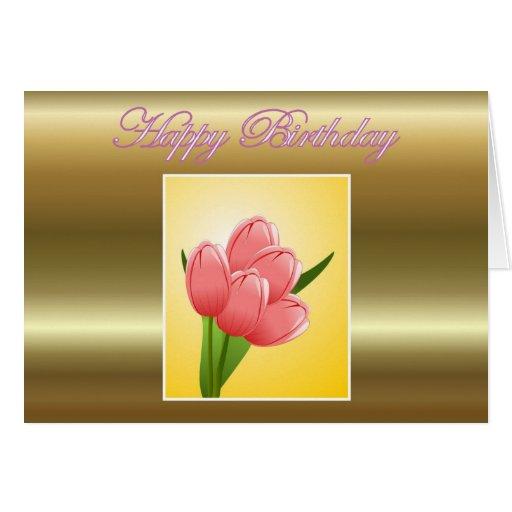 Feliz cumpleaños a la suegra con las flores tarjeta de felicitación