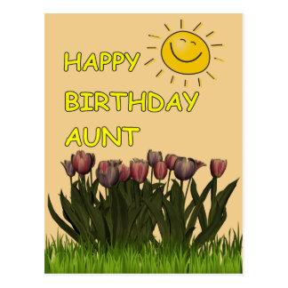 Feliz cumpleaños a la tía Sun y flores Tarjetas Postales