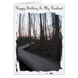 Feliz cumpleaños a mi marido - viaje de la vida tarjeta de felicitación