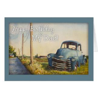 Feliz cumpleaños a mi papá camión azul tarjetón