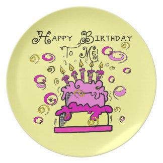 Feliz cumpleaños a mí platos de comidas