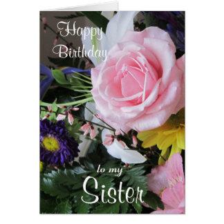 Feliz cumpleaños a mi ramo color de rosa tarjeta de felicitación
