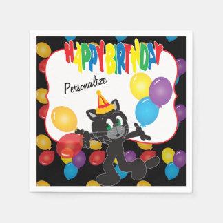 Feliz cumpleaños a un gato fresco servilletas desechables