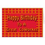 Feliz cumpleaños a un gran compañero de trabajo tarjetas