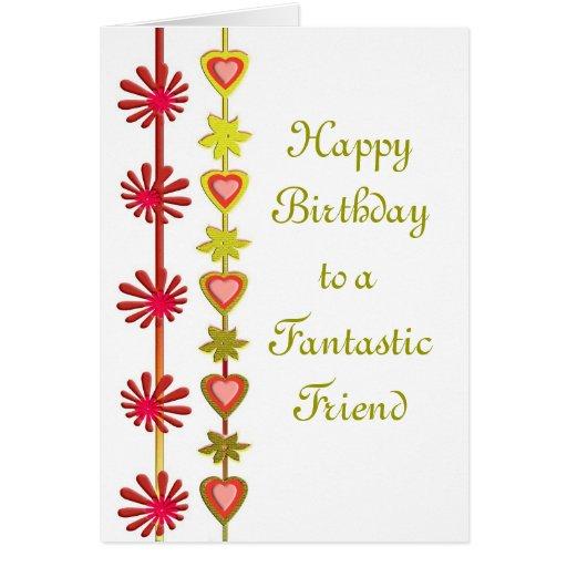 Feliz cumpleaños a una tarjeta fantástica del amig