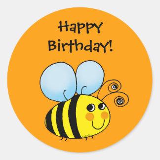 ¡Feliz cumpleaños! (abejorro) Pegatina Redonda