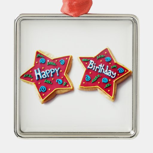 feliz cumpleaños adorno navideño cuadrado de metal
