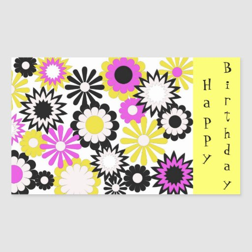 Feliz cumpleaños, amarillo, rosa, blanco, flores rectangular pegatina