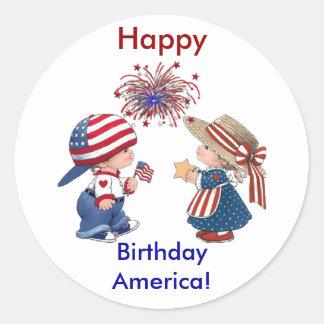 Feliz cumpleaños América del vintage Pegatina Redonda
