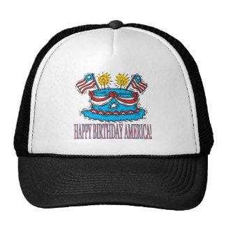 Feliz cumpleaños América Gorros Bordados