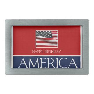 ¡Feliz cumpleaños América! Hebillas Cinturon Rectangulares