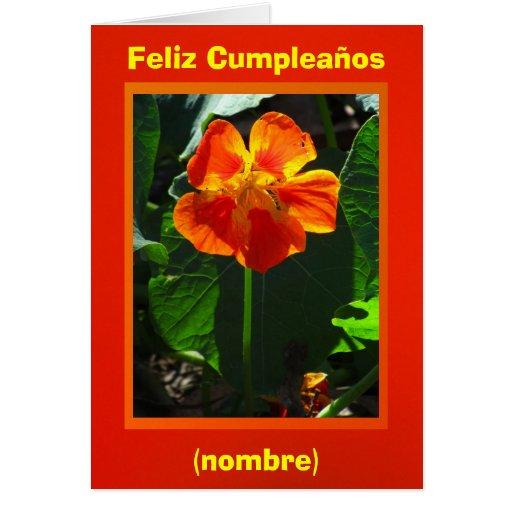 Feliz Cumpleaños - Anaranjada Capuchina Tarjeta De Felicitación