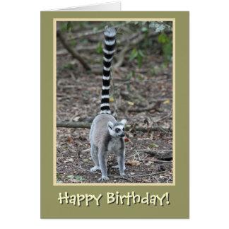 Feliz cumpleaños Anillo-Atado del Lemur Tarjeta De Felicitación
