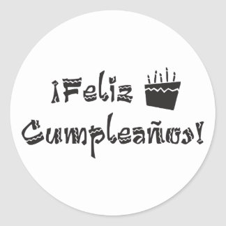 feliz cumpleanos arriba cake classic round sticker