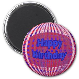 Feliz cumpleaños azul blanco rojo imán redondo 5 cm