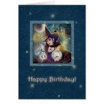 Feliz cumpleaños - azul de la bruja tarjeta de felicitación