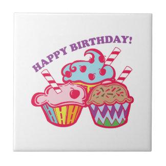 Feliz cumpleaños azulejo cerámica