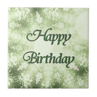Feliz cumpleaños azulejo cuadrado pequeño
