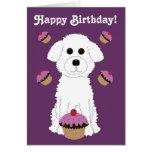 Feliz cumpleaños Bichon con las magdalenas púrpura Tarjetas