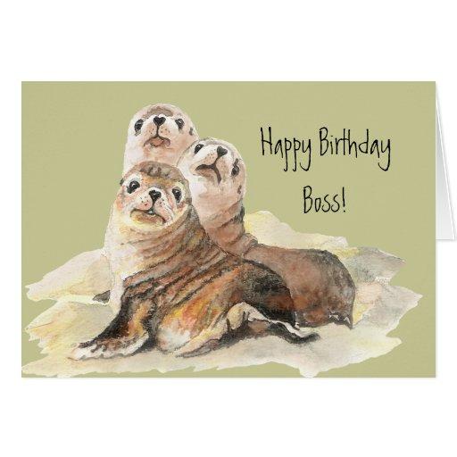 Feliz cumpleaños Boss del grupo de sellos lindos Tarjeta De Felicitación