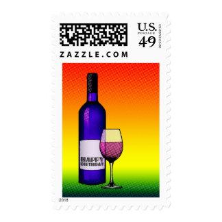 feliz cumpleaños: botella y vidrio de semitono de sellos