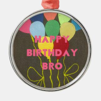 Feliz cumpleaños Bro Adorno Redondo Plateado