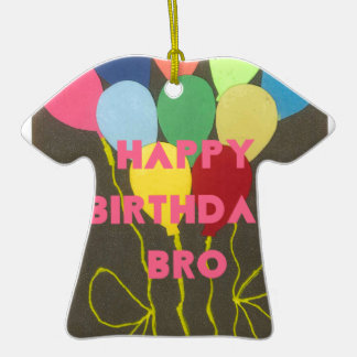 Feliz cumpleaños Bro Adorno De Cerámica En Forma De Playera